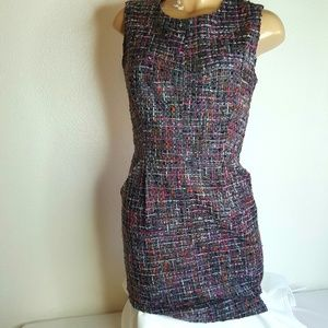 Milly multi color tweed career pocketed dress 4